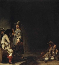 soldiers smoking, drinking and resting in a guardroom by simon kick