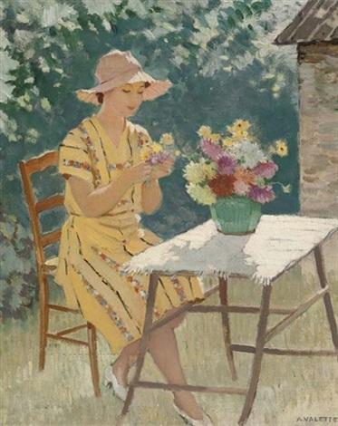 femme et fleurs maria la fond blacée rhône by adolphe valette