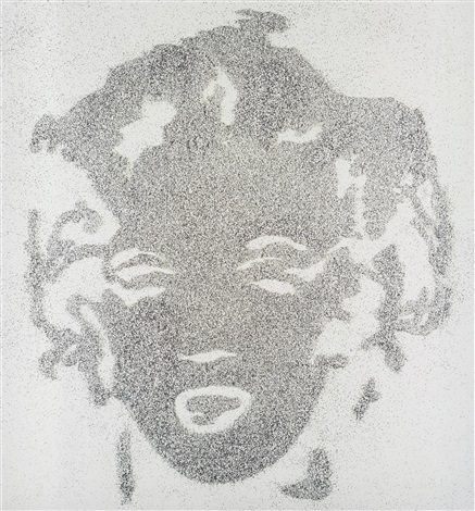 reversal grey marilyn from pictures of diamond dust by vik muniz