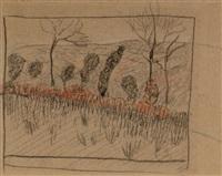 talus d'hiver aux arbres tetard (+ etude de femmes (study); verso) by paul sérusier