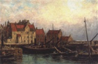boats against a harbour wall by charles a. sellar