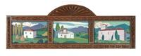 maisons et eglise au pays basque (triptych) by ramiro arrue