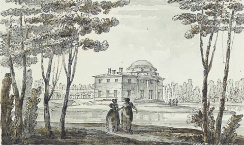 a neoclassical pavillion perhaps in the park at tsarskoe selo by giacomo quarenghi