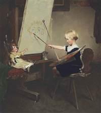 the artist's daughter (little girl with palette at easel) by norman rockwell