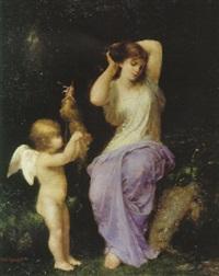 jeune femme et ange by jean-ernest aubert