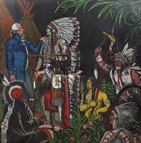 le général lafayette rencontrant le chef de la tribu indienne (preliminary study) by guy arnoux