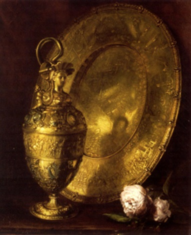 aiguière et plateau de cuivre by lucien przepiorski
