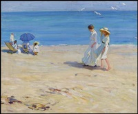 the blue sea, on the beach at st. malo by helen galloway mcnicoll