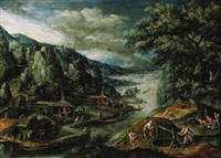 a river landscape with iron-mining scenes by marten van valkenborch the elder