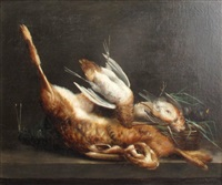 still life of a woodcock, a hare and other dead game by bernard pégot