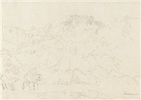 italienische landschaft mit störrischem esel by johann jakob dorner the younger