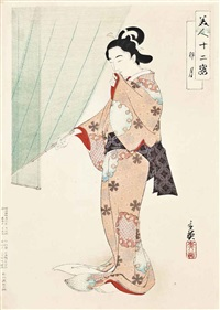 ladies in different months of the year (from the series bijin junishi (twelve kinds of beauties) (7 works)) by migita toshihide