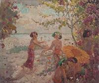 five women on the beach by adrien jean le mayeur de merprés