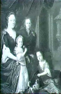 portrait of a seated lady and her children before a red   drape and classical statuary by hendrick ten oever
