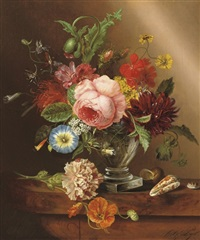 colourful flowers in a glass vase by cornelis gerardus pijl