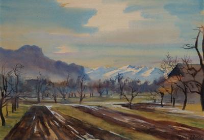 blick vom rheintal vorarlberg auf die schweizer berge study verso by erich miller von hauenfels