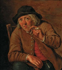 a peasant smoking in an interior by johann heinrich keller