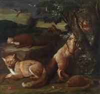 wildtiere vor landschaftshintergrund by johann friedrich grooth