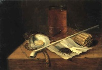 toebackje: beer glass, matches, pipe, oyster and fuse on a table by gaspar (smits, smith) smitz