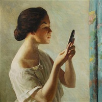 the reflection, mrs. georgia long by edward simmons