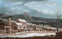 eine winterlandschaft mit händlerkarawane by jules cesar denis van loo