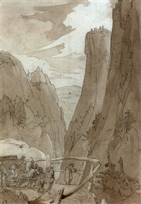 view of the via mala, with a coach and horses and an artist sketching by franz nadorp