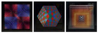 vonal vegh, paul arny, hat vi (set of 3) by victor vasarely