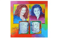 untitled, dual portrait of ana gasteyer & rosie o'donnell by peter max