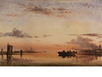 santa maria della salute, evening (+ sunset on the lagoon of venice, with the church of isola di san giorgio in alga in the distance; pair) by edward william cooke