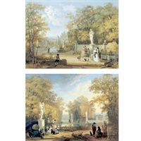 view of a french garden (+ another similar; pair) by louis gadbois