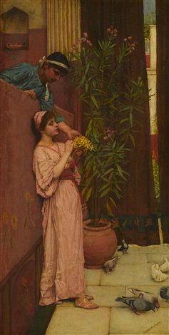 the courtship sweet offerings by john william waterhouse