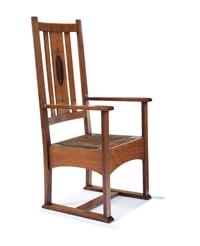 rare inlaid armchair by harvey ellis