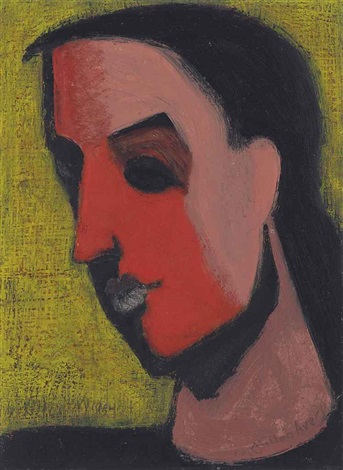 untitled head of woman by milton avery