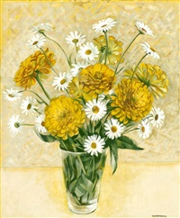 yellow zinnias and shasta daisies by kenneth miller adams