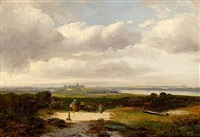 travellers in a landscape, a town beyond by hermanus jan hendrik rijkelijkhuysen
