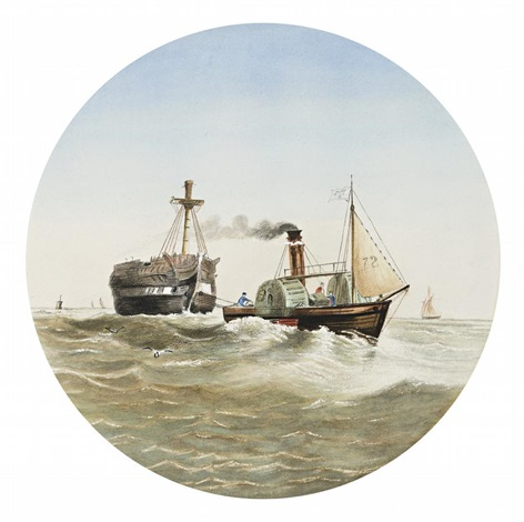 steamer working on the bay by samuel thomas gill