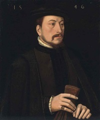 portrait of a gentleman in black robes with a ruff and a black mantle, holding a pair of gloves in his right hand by ambrosius benson