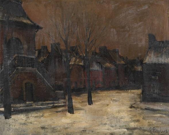 ruelle enneigée à montigny sur sambre by pierre paulus