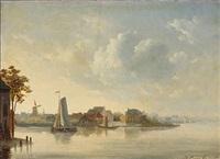 view of a dutch canal by johan conrad greive