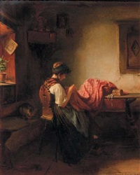 young girl sewing by ludwig vollmar