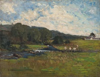 landscape with sheep by d. sherrin