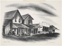 fishing village (+ street in manasquan, smaller; 2 works) by jack markow