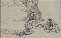 three people relaxing beneath large tree (illus.) by edwin austin abbey