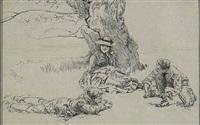 three people relaxing beneath large tree (illus.) by edwin austin abbey