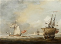sailing vessels outside of fortified harbor by louis dodd