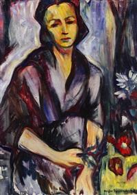 frau in lila by maria von heider-schweinitz