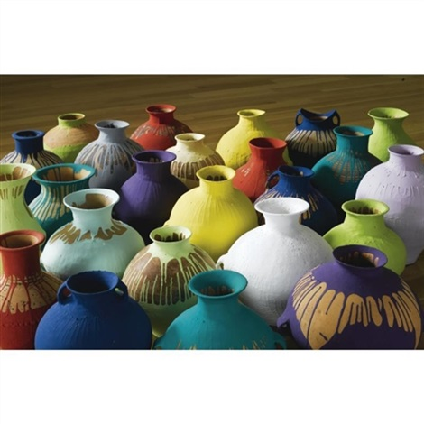 colored pots in 24 parts various sizes by ai weiwei