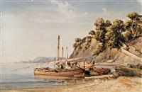fischerboote im hafen by vincent joseph françois courdouan