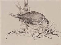 stillleben mit fischen und angelhaken by reinhold naegler