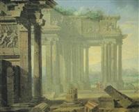 paisaje con templo clásico y figuras by philippe meusnier